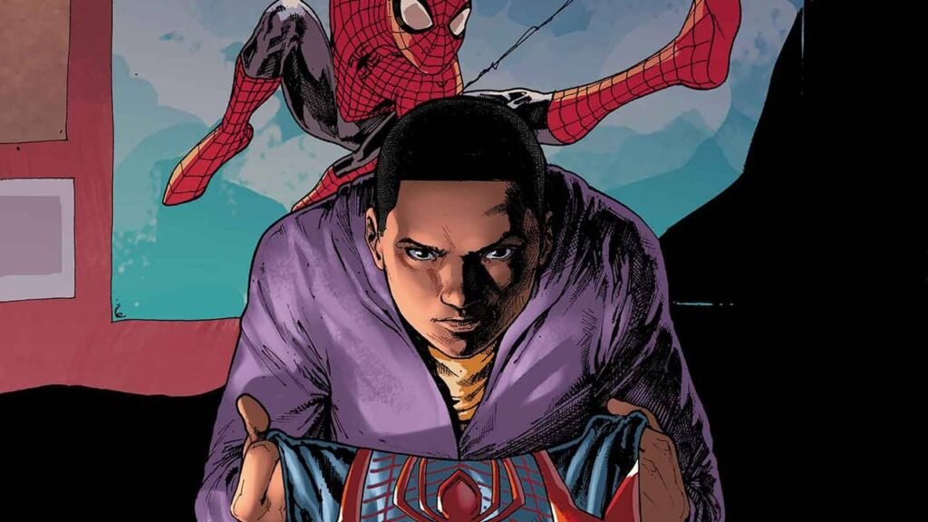 Miles Morales segurando o uniforme do Homem Aranha em frente a um poster de Peter Parker