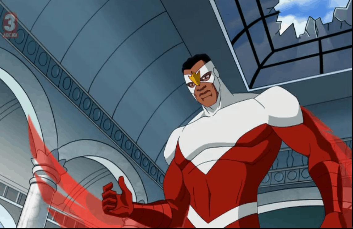 """Falcão no desenho """"Vingadores: Os heróis mais poderosos da Terra"""""""