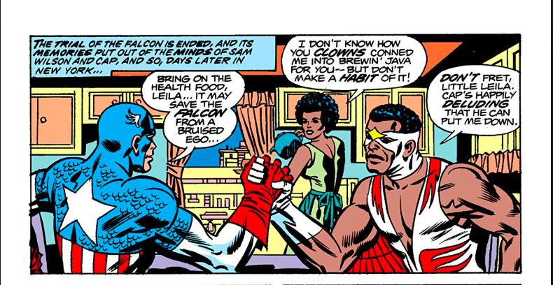 Falcão e Capitão América em revista em quadrinhos antiga
