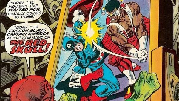 luta entre Capitão América e Falcão nos quadrinhos