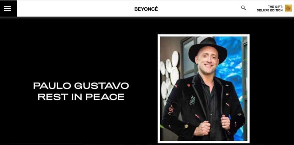 Site oficial de Beyoncé homenageia Paulo Gustavo